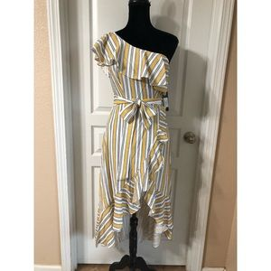 Lulu's Yellow Striped One Shoulder High/Low Dress